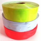 "PVC反光條2""英吋50M :橘紅色/白色/黃綠色/銀灰,無黏性<br>      PVC反光條4""英吋50M :白色/黃綠色,無黏性"