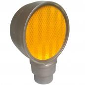 SH-D101B 鑄鋁雙斜面反光導標頭<p>說明:主體鑄鋁材質;雙斜面;可搭配紅/黃反光片Φ10cm