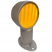 SH-D101A 鑄鋁雙斜面反光導標<p>說明:主體鑄鋁材質;雙斜面;可搭配紅/黃反光片Φ10cm
