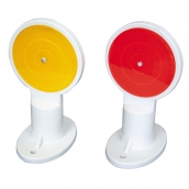 SH-D130 安全島用平面反光導標<p>說明:雙平面,可搭配紅/黃反光片