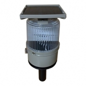SH-SL23 超高亮度太陽能握把紅藍燈<br> 主體約:整體高31.5cm,燈頭主體高16cm直徑11cm,握把長12cm,太陽能板11.7cm*11.7cm,太陽能供電,紅藍LED交替閃爍