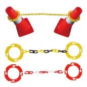 SH-647 套環式塑膠鏈 規格:2米/25條装 顏色:黃黑/黃色/紅白/ 紅色/黑色 紅白訂製 (另搭配SH-650四向塑膠環)