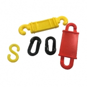 SH-646 塑膠鏈條連接片 規格:S片、迴紋片丶水欄柱勾丶反光迴紋片 顏色:紅/黃/黑色