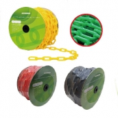 SH-649 PE塑膠鏈條 規格:6mm/8mm, 短目及長目2種 尺寸:50米/捲 顏色:紅/黃/藍/綠/白/黑/ 黃罴/紅白/電鍍銀/夜光 用途∶可搭配交通錐·防撞桿 做圍籬丶圉欄丶排隊柵欄 請勿停車丶警示鏈丶曬衣鏈