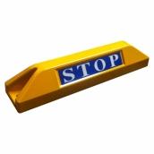 鋁合金車輪擋<P>規格:本體鋁合金+烤漆 ( 黃 ),STOP反光貼紙<P>約長55㎝*寬11.5㎝*高10㎝,1kg  ( 誤差±3% )