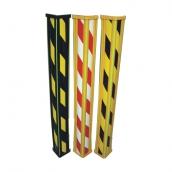 PL90 斜紋警示防撞條<br> 規格: 9*9*90cm<br> 熱塑性膠料,押出成型,膠條線條採圓弧角設計,三道螢光條,而上下收邊蓋、膠面斜紋警示膜與膠體熱壓一體成型<br> 顏色:黑色(黑黃斜紋)/黃色(紅白斜紋)/黃色(黑黃斜紋)