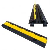 SH-R22411 橡膠2槽線槽<br> 橡膠材質,黃色PVC蓋板<br>整體約 長98㎝*寬24㎝*高4.5㎝,重約6kg<br>內槽尺寸:約3㎝*3㎝