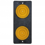 SH-D102 危險第一類反光標記二聯式反光導標<p>說明:底板4種材質選擇:A-鋁板、B-PE、C-PC、D-鑄鋁