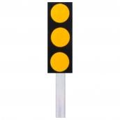 SH-D103 危險第一類反光標記三聯式反光導標<p>說明:底板4種材質選擇:A-鋁板、B-PE、C-PC、D-鑄鋁