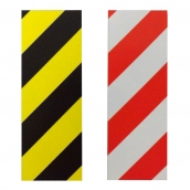 SH-1095 斜紋反光貼紙  說明: SH-1095BY黑黃斜紋 SH-1095WR白紅斜紋